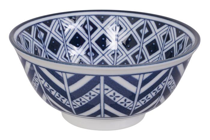 Tokyo Design Studio - Mixed Bowls - Blauw/Witte Kom - 14.8 x 7cm 500ml